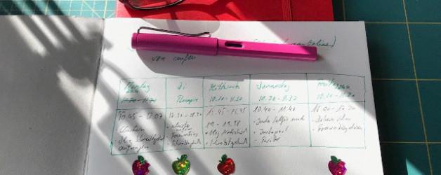 Schreibtagebuch (6) oder wieder einen schönen Schreibrhythmus gefunden und Glitzerapfelsticker bekommen